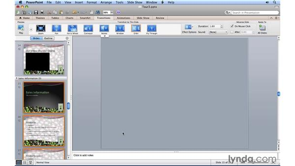 Using slide transition effects: PowerPoint for Mac 2011 Essential Training