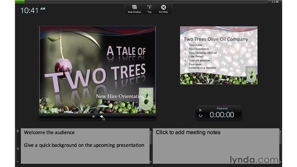 Using presenter tools with two screens: PowerPoint for Mac 2011 Essential Training
