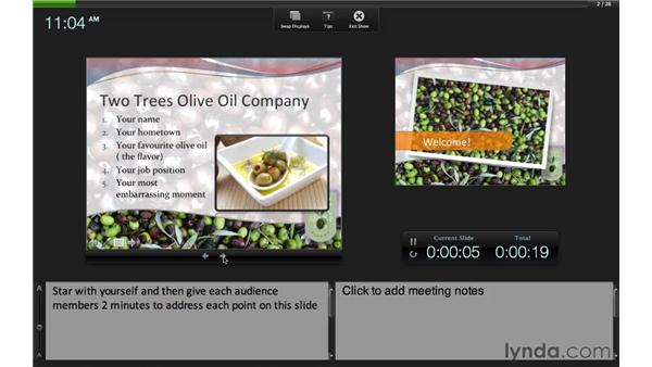Creating a self-running slideshow: PowerPoint for Mac 2011 Essential Training