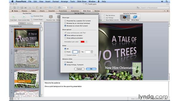 Playing a self-running slideshow: PowerPoint for Mac 2011 Essential Training