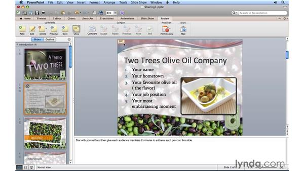 Using comments: PowerPoint for Mac 2011 Essential Training