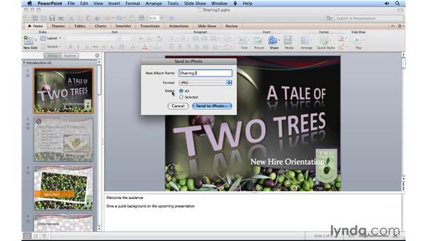 Sending a slideshow to iPhoto: PowerPoint for Mac 2011 Essential Training