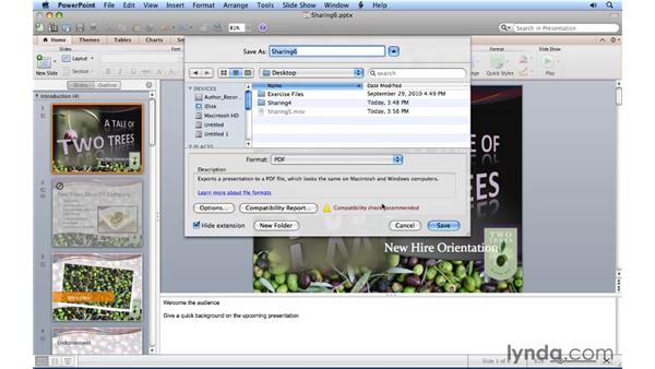 Creating a PDF presentation: PowerPoint for Mac 2011 Essential Training