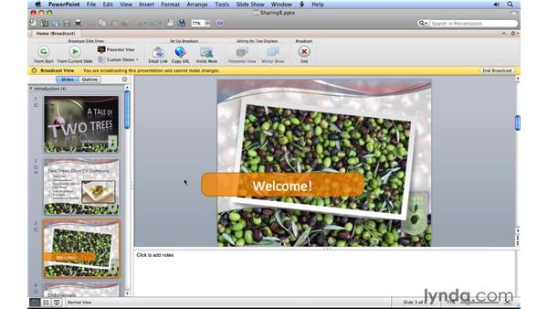 Broadcasting a presentation over the web: PowerPoint for Mac 2011 Essential Training