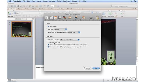 Changing PowerPoint preferences: PowerPoint for Mac 2011 Essential Training