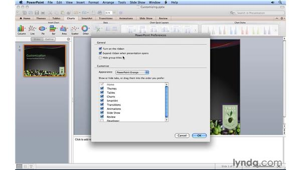 Customizing the Ribbon and toolbars: PowerPoint for Mac 2011 Essential Training