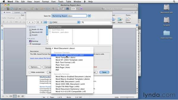 Opening, saving, and closing documents: Word for Mac 2011 Essential Training
