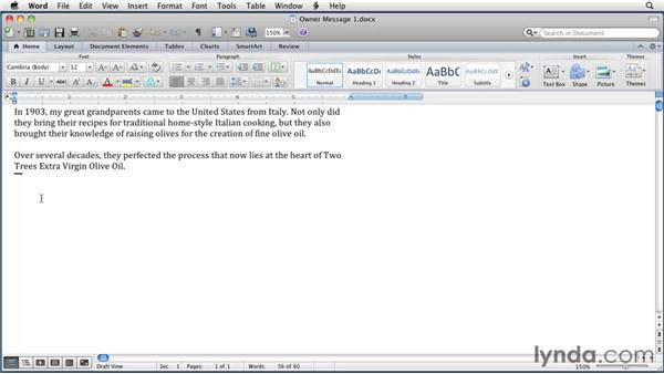 Inserting and deleting text: Word for Mac 2011 Essential Training