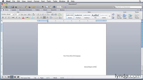 Using Click and Type to enter text: Word for Mac 2011 Essential Training