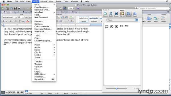 Inserting symbols and special characters: Word for Mac 2011 Essential Training