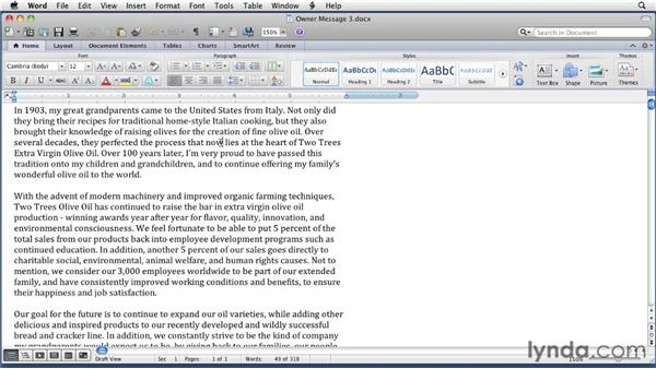 : Word for Mac 2011 Essential Training