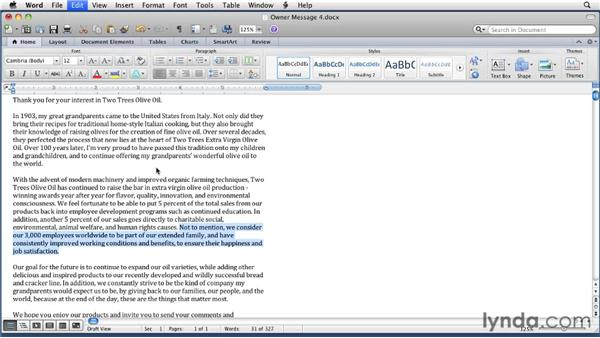 Copying and moving text: Word for Mac 2011 Essential Training