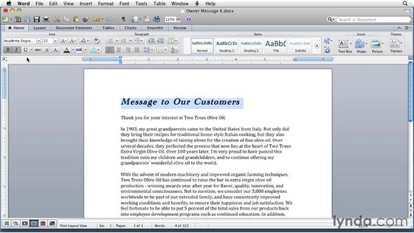 Applying font formatting: Word for Mac 2011 Essential Training