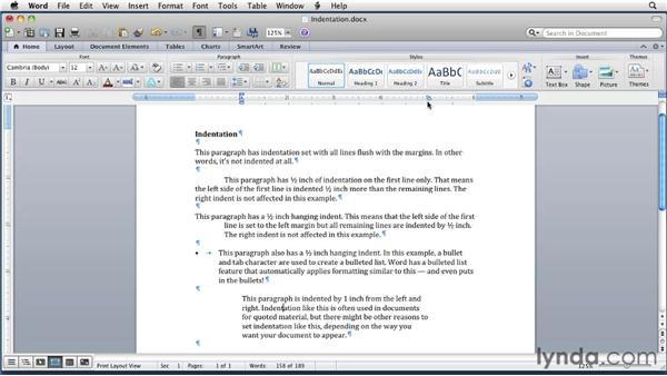 Indenting paragraphs: Word for Mac 2011 Essential Training