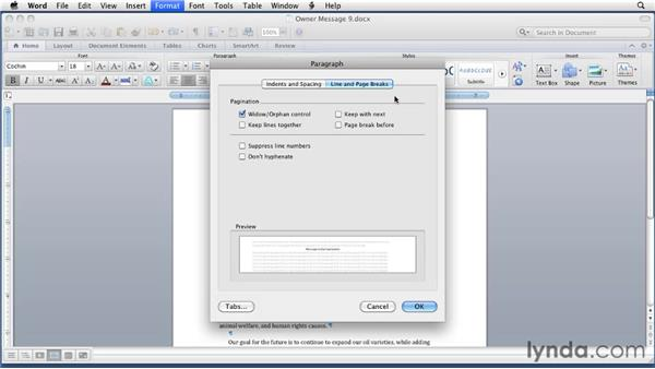 Setting paragraph formatting options: Word for Mac 2011 Essential Training