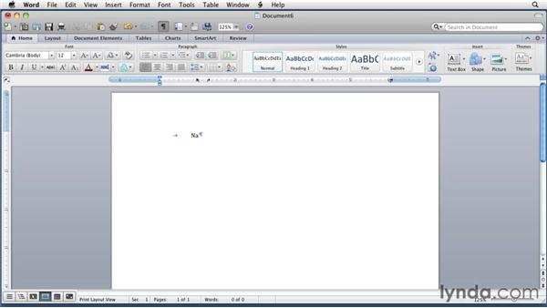Creating a tab table with the Tabs dialog: Word for Mac 2011 Essential Training