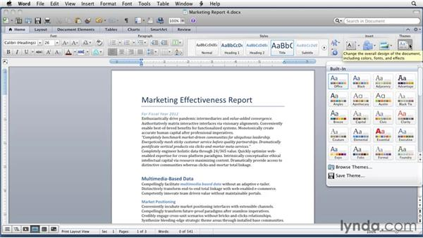 Reformatting with Quick Style sets and themes: Word for Mac 2011 Essential Training