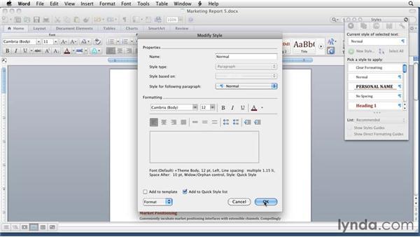 Modifying styles: Word for Mac 2011 Essential Training
