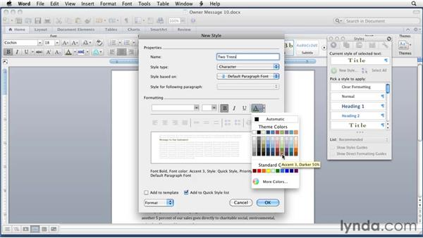 Creating and deleting styles: Word for Mac 2011 Essential Training