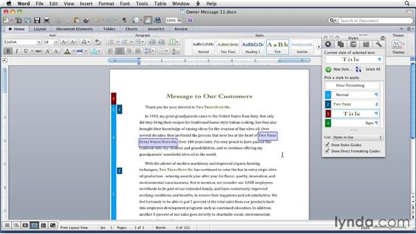 Revealing formatting: Word for Mac 2011 Essential Training