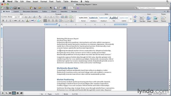 Using AutoFormat on text: Word for Mac 2011 Essential Training