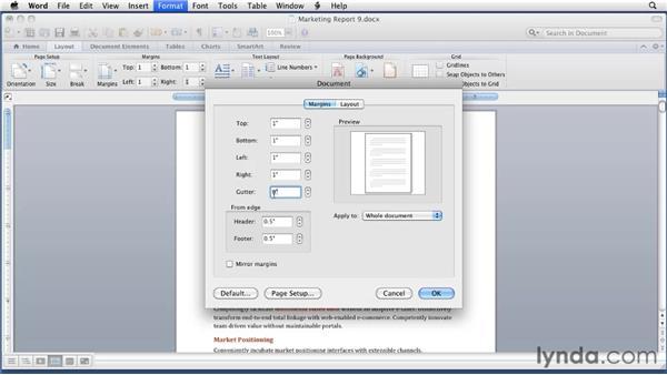Setting margins: Word for Mac 2011 Essential Training