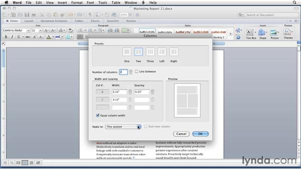Setting multiple columns: Word for Mac 2011 Essential Training