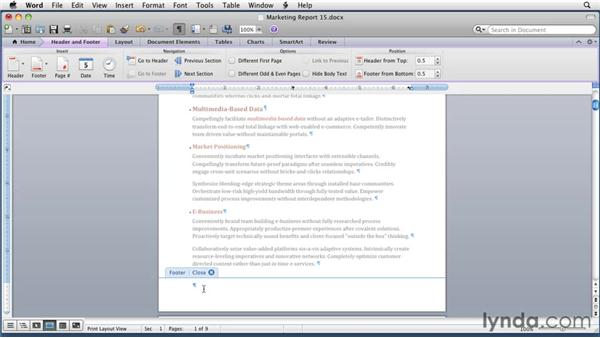 Manually creating headers and footers: Word for Mac 2011 Essential Training