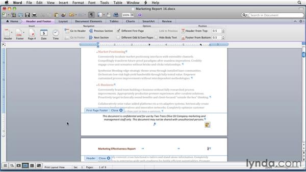 Setting multiple headers and footers in a document: Word for Mac 2011 Essential Training