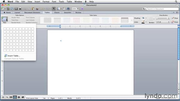 Creating a cell table: Word for Mac 2011 Essential Training