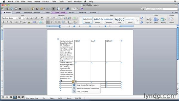Entering and formatting table text: Word for Mac 2011 Essential Training