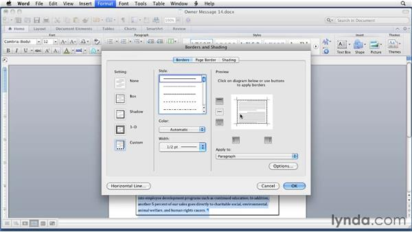 Adding borders to text and paragraphs: Word for Mac 2011 Essential Training