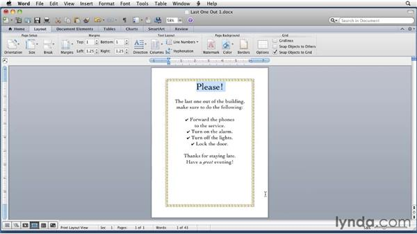 Setting page borders: Word for Mac 2011 Essential Training