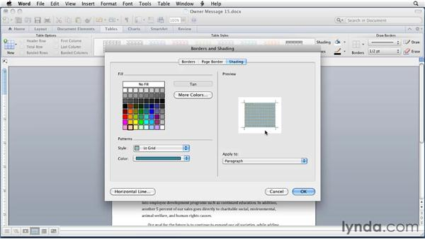 Applying shading: Word for Mac 2011 Essential Training