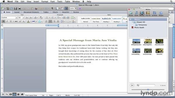 Using the Media Browser to insert media: Word for Mac 2011 Essential Training