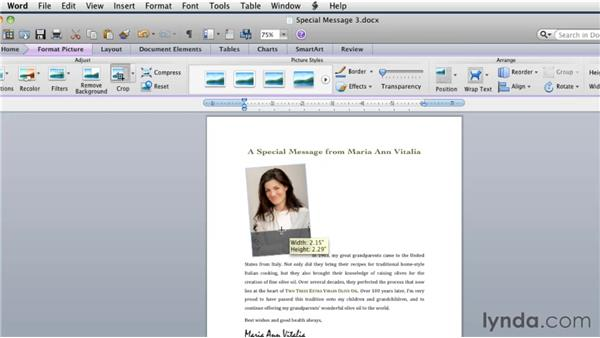 Formatting images: Word for Mac 2011 Essential Training