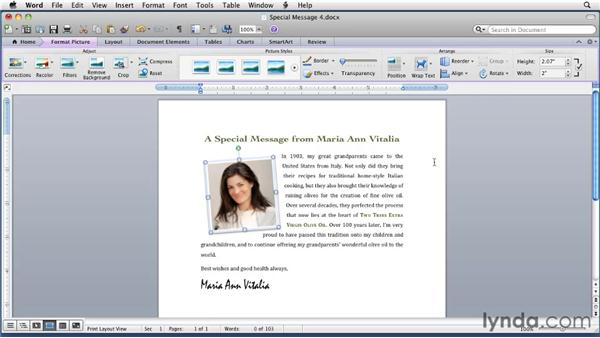 Wrapping text around an image: Word for Mac 2011 Essential Training
