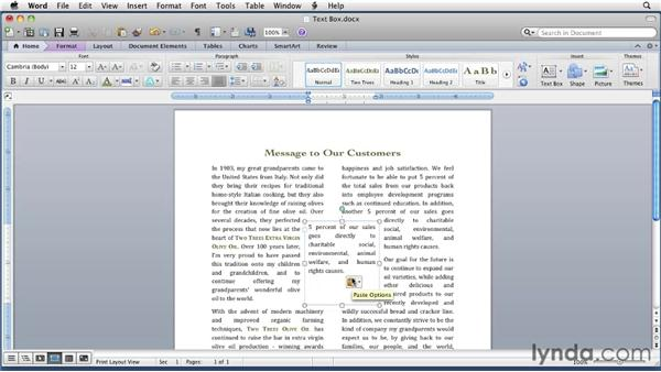 Inserting and formatting a text box: Word for Mac 2011 Essential Training