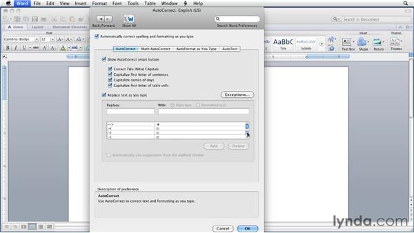Using AutoCorrect and AutoFormat As You Type: Word for Mac 2011 Essential Training