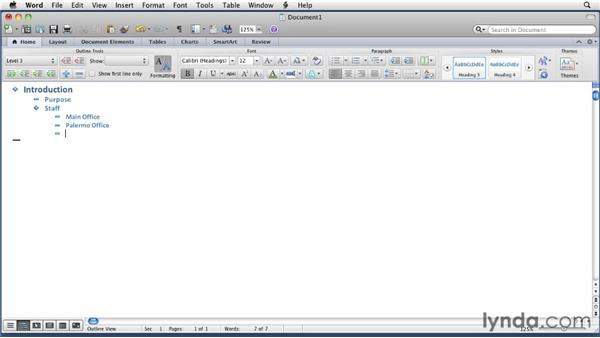 Building an outline: Word for Mac 2011 Essential Training