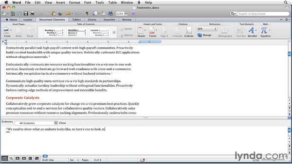 Inserting footnotes and endnotes: Word for Mac 2011 Essential Training