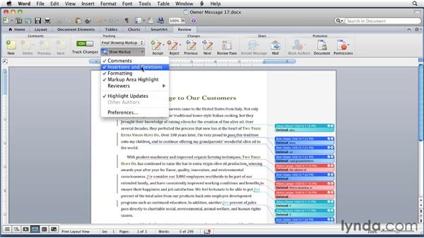 Tracking changes: Word for Mac 2011 Essential Training