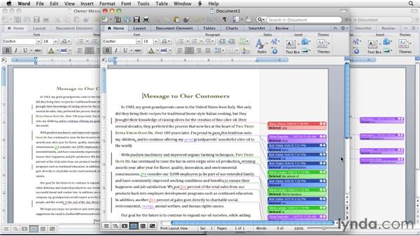 Merging and comparing documents: Word for Mac 2011 Essential Training