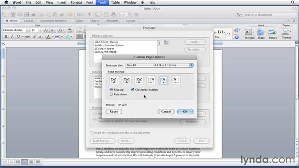 Creating envelopes: Word for Mac 2011 Essential Training