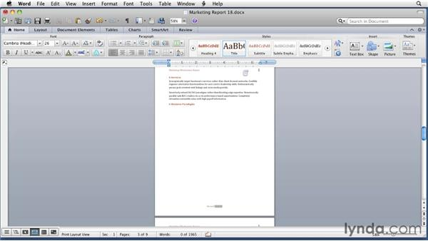 Previewing a document: Word for Mac 2011 Essential Training