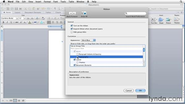 Customizing the Ribbon: Word for Mac 2011 Essential Training
