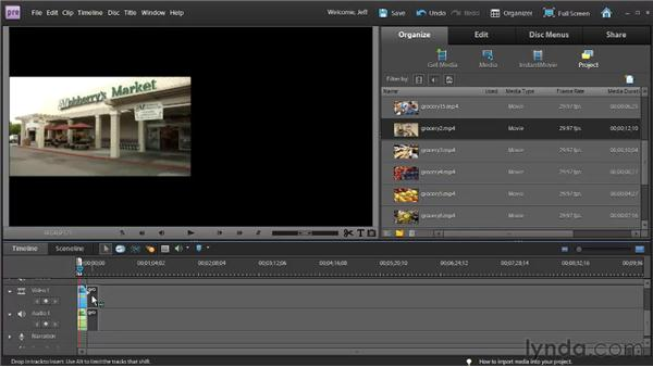 Adding and deleting clips in the Timeline: Premiere Elements 9 Essential Training