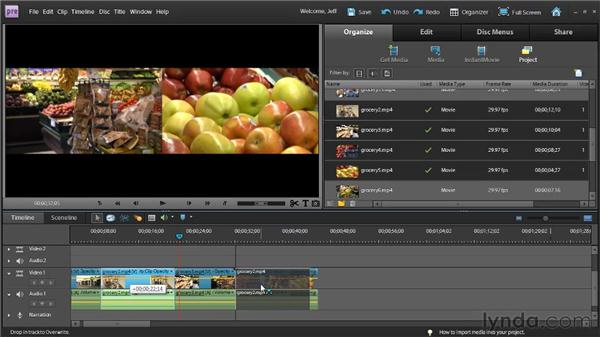 Adding and rearranging clips in the Timeline using modifier keys: Premiere Elements 9 Essential Training