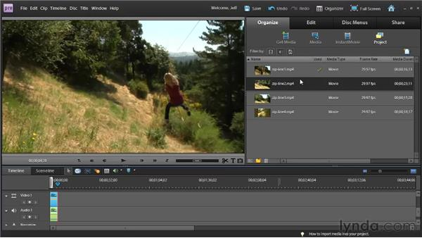 Adjusting clip length in the Preview window: Premiere Elements 9 Essential Training