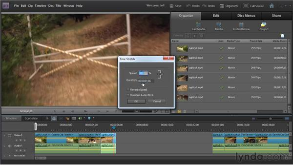 Creating freeze frames and changing clip speed, duration, and direction: Premiere Elements 9 Essential Training